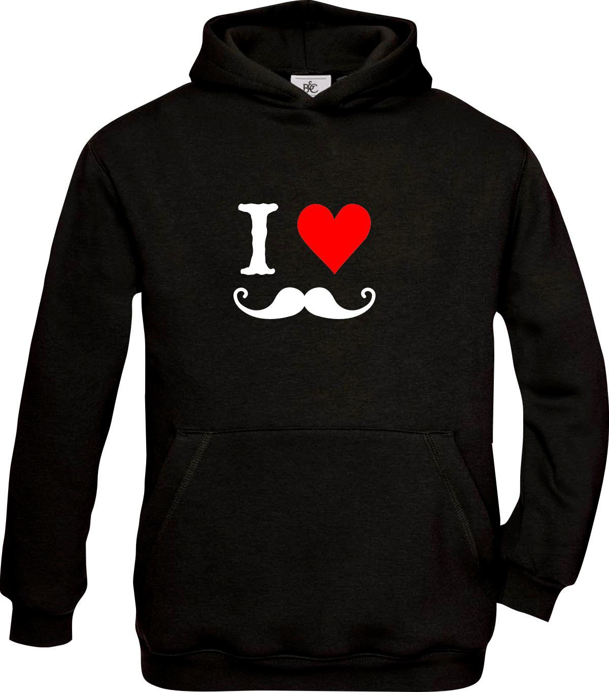 Kids-Hooded-I-Love-Moustache-Schautzbart-FUN-kult-98-164