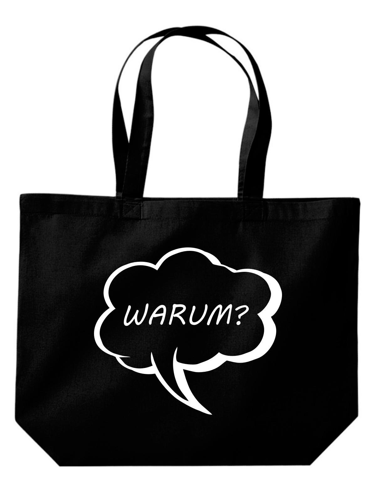 Shirtstown große Einkaufstasche, Shopper Sprechblase warum?