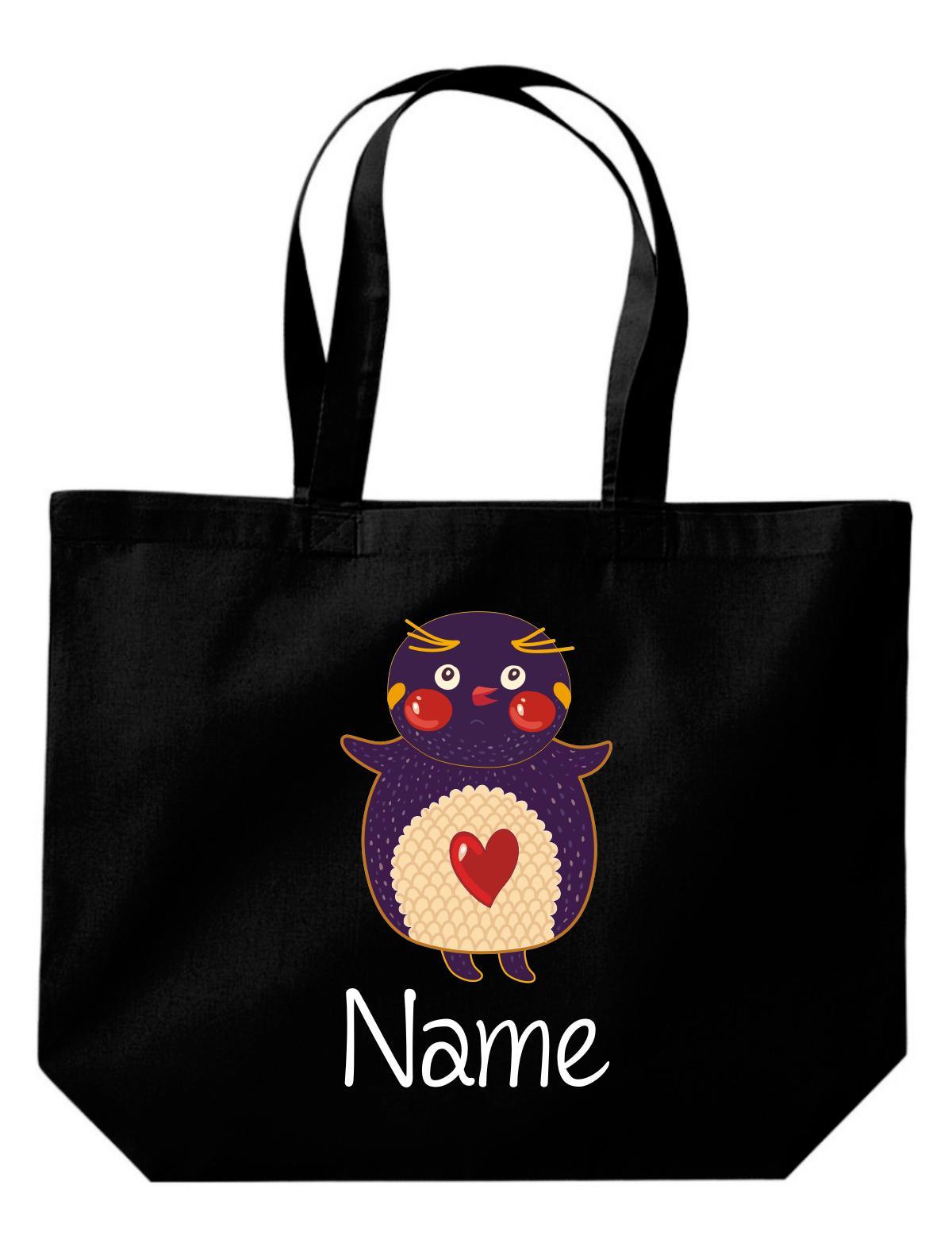 große Einkaufstasche, mit süßen Motiven inkl. Ihrem Wunschnamen Pinguin,