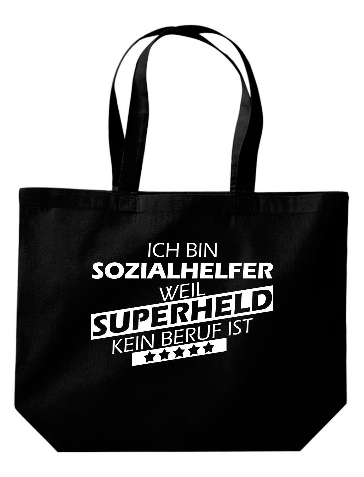 große Einkaufstasche, Ich bin Sozialhelfer, weil Superheld kein Beruf ist,