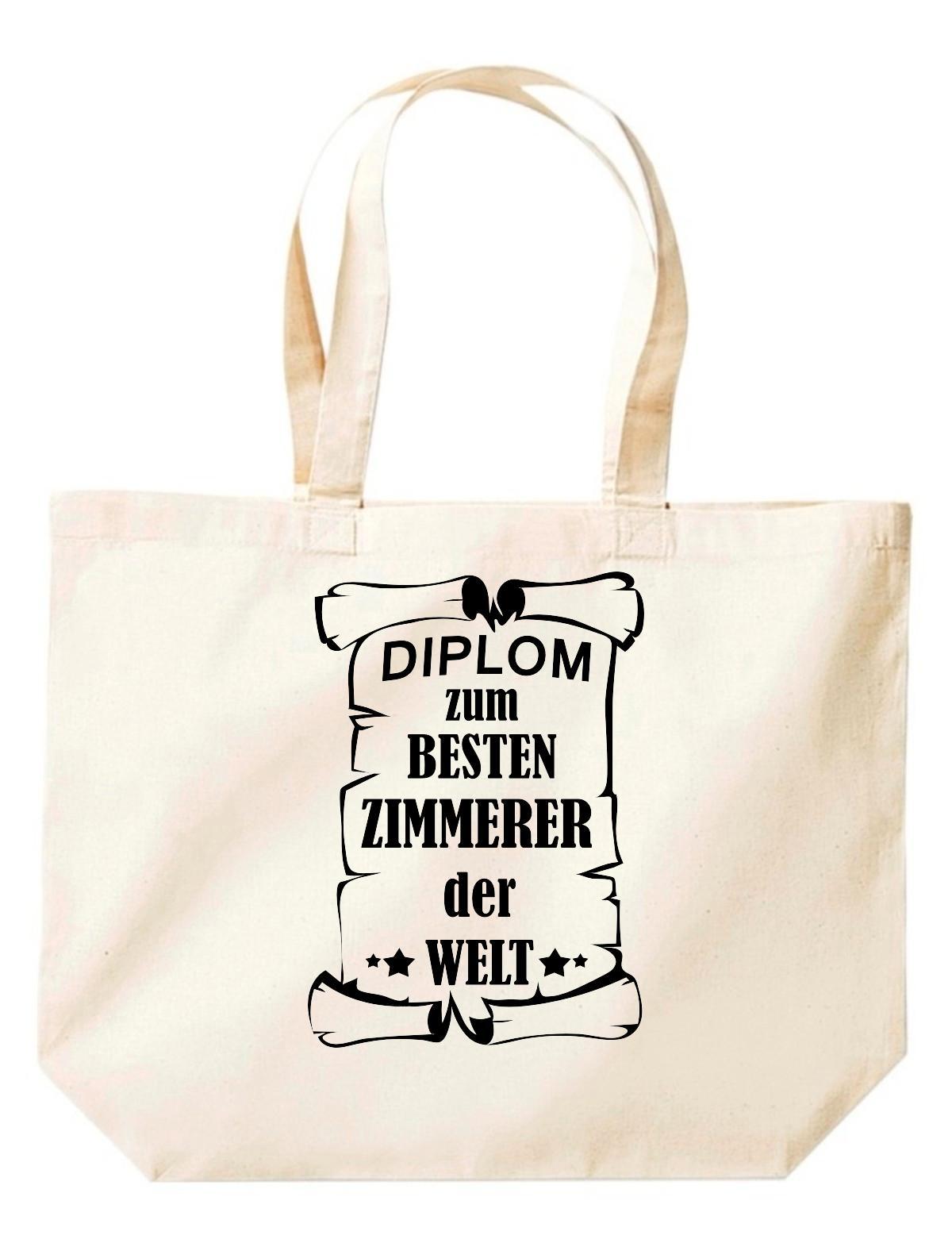 große Einkaufstasche, Diplom zum besten Zimmerer der Welt,