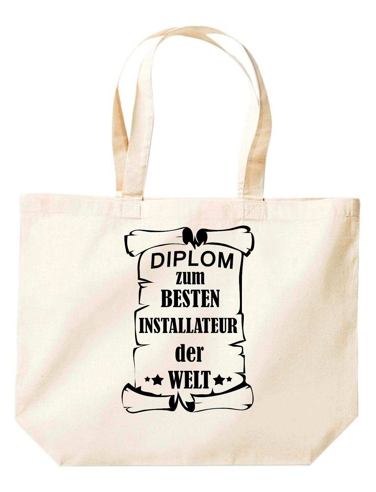 große Einkaufstasche, Diplom zum besten Installateur der Welt,