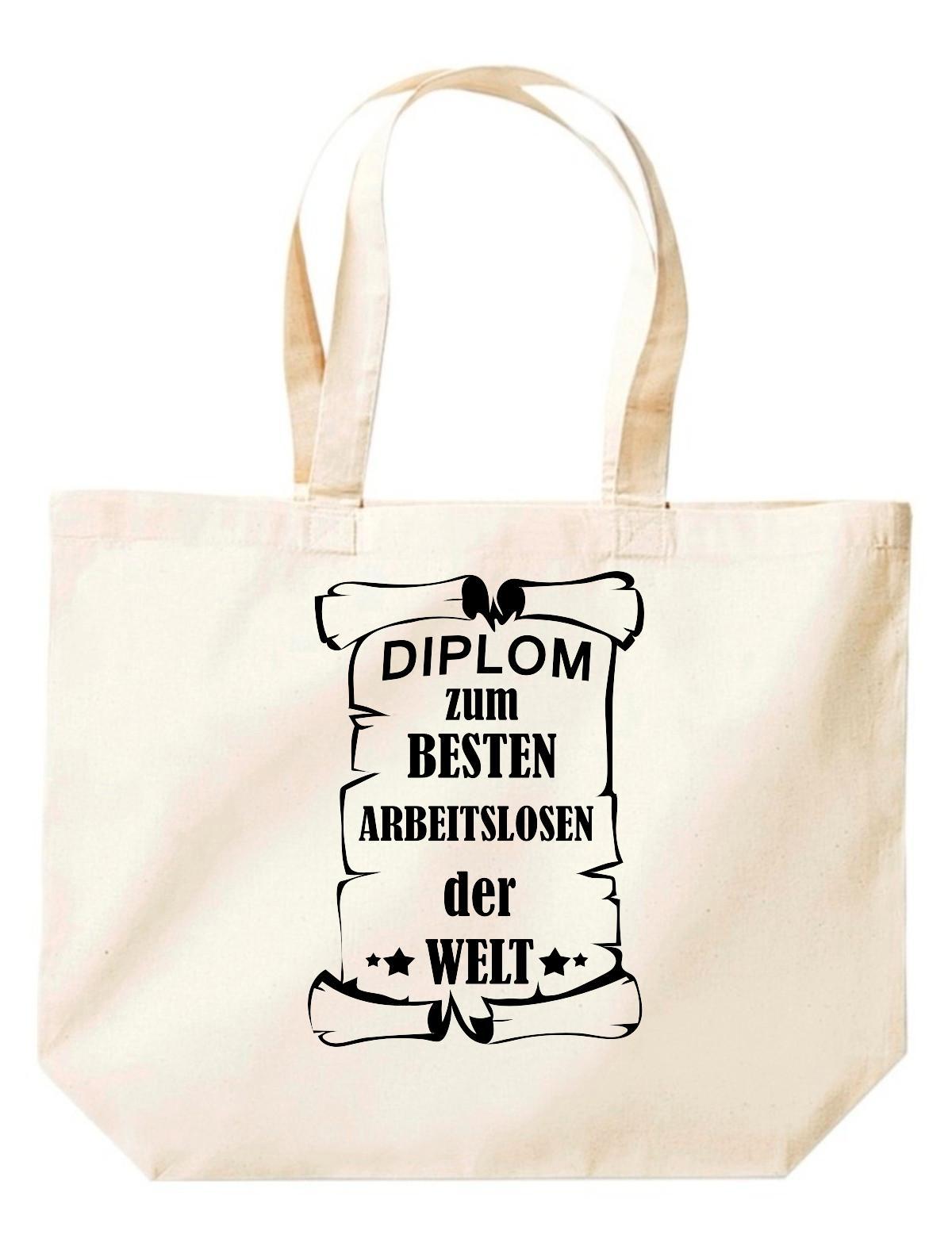 große Einkaufstasche, Diplom zum besten Arbeitslosen der Welt,