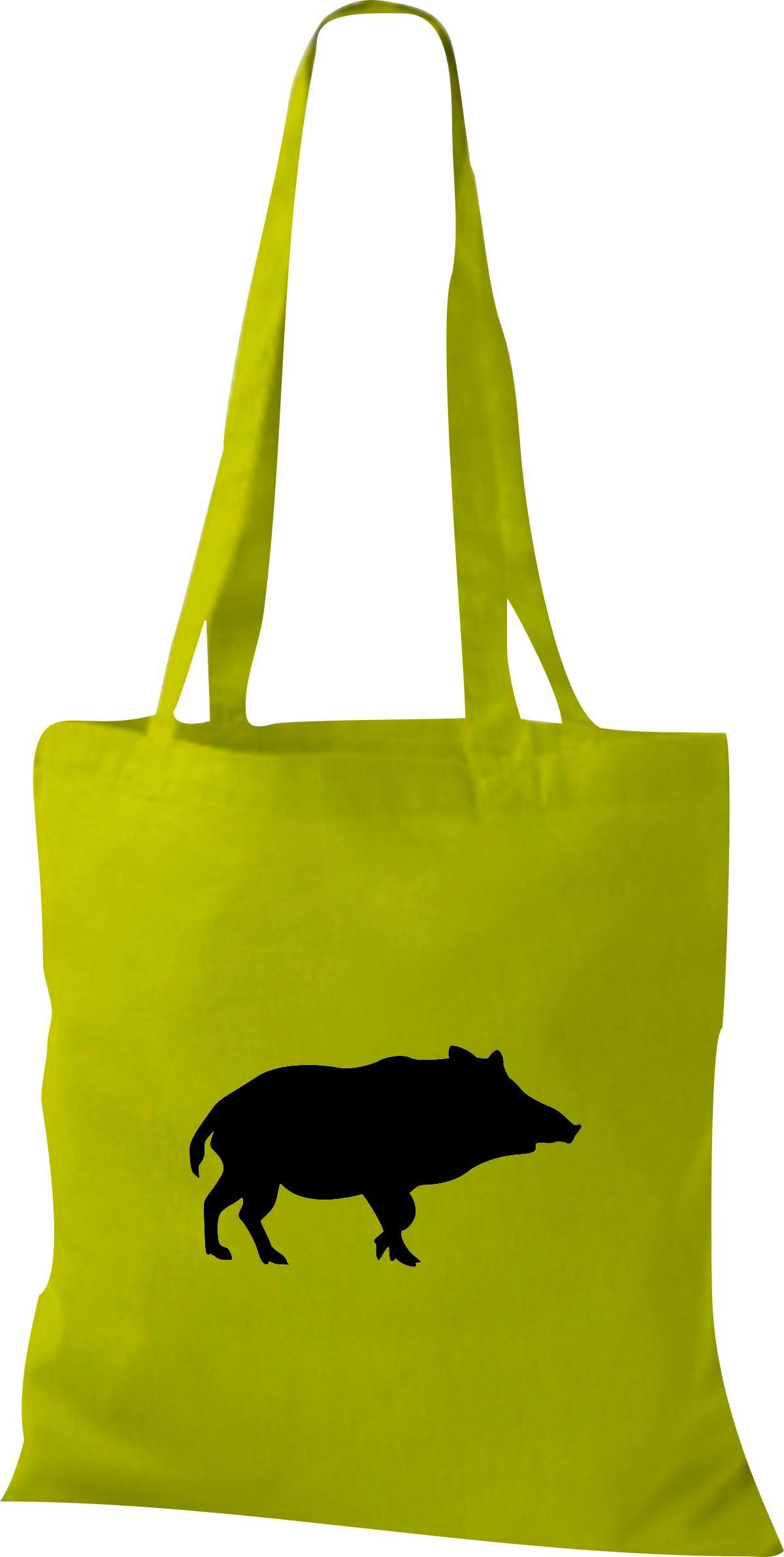 Stoffbeutel lustige Tiermotive, Schwein, Eber, Wildschwein Kult Baumwolltasche v