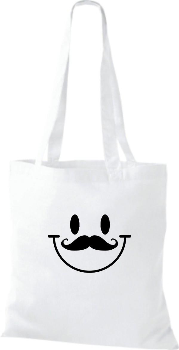 Stoffbeutel Moustache lustiger Smiley Kult Baumwolltasche viele Farben