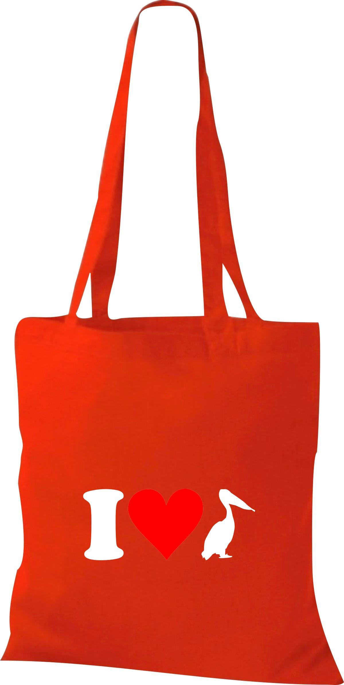 Stoffbeutel I Love Pelikan Tiere Tiermotive Naturkult, Baumwolltasche viele Farb