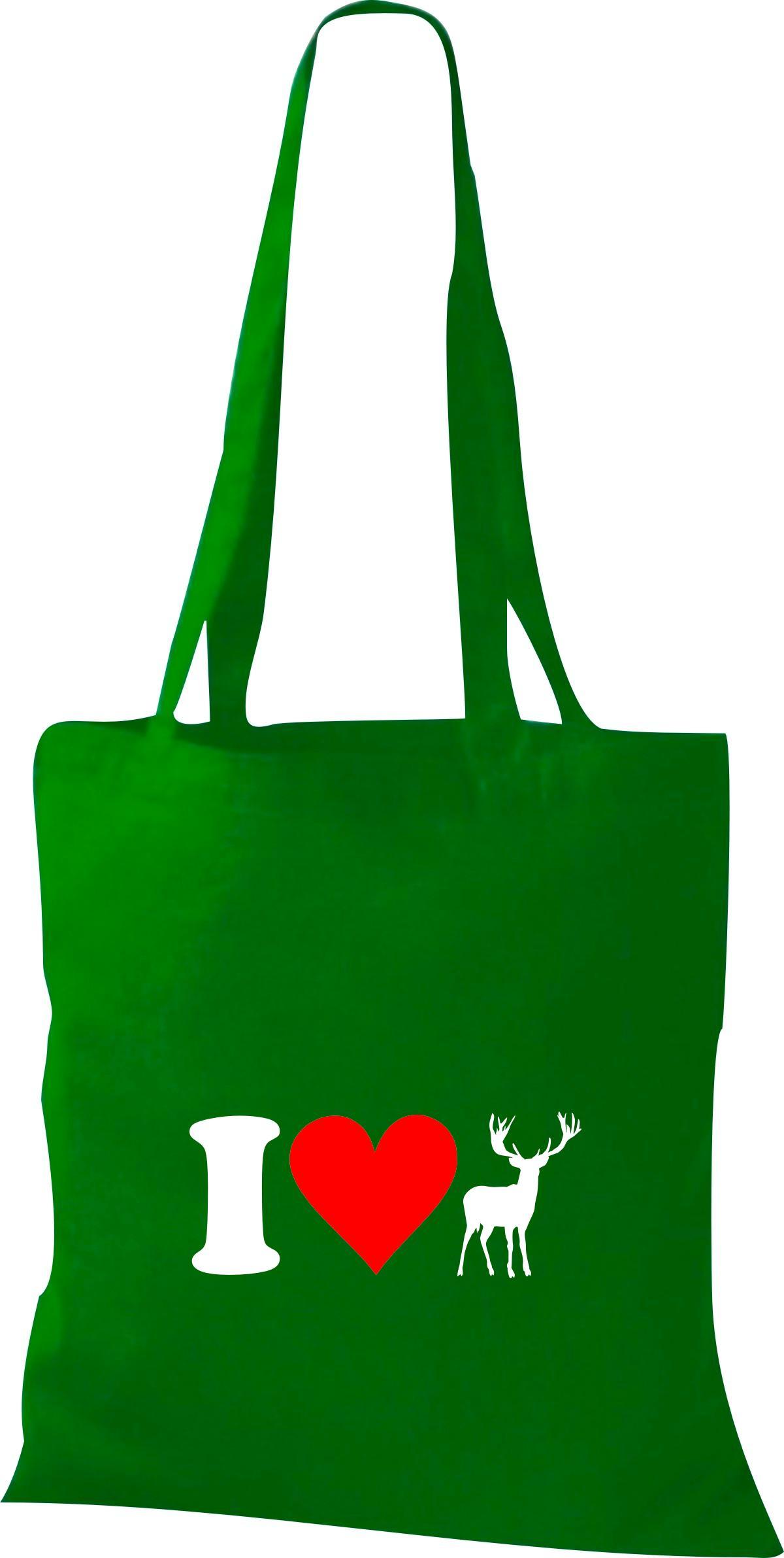 Stoffbeutel I Love Elch Reh Wild Tiere Tiermotive Naturkult, Baumwolltasche viel