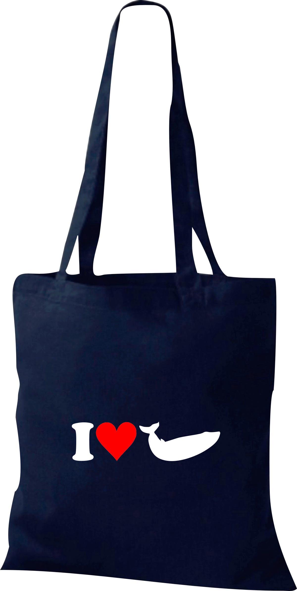Stoffbeutel I Love Wal Orca Tiere Tiermotive Naturkult, Baumwolltasche viele Far