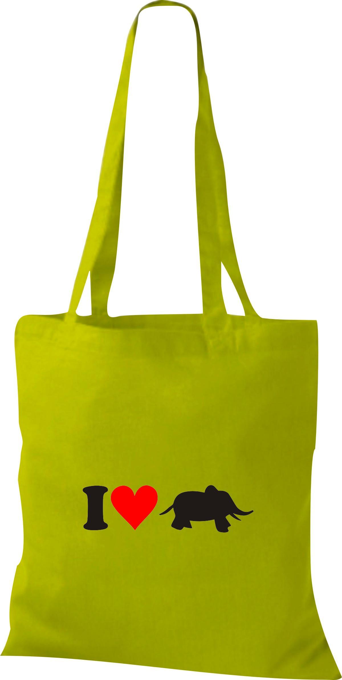 Stoffbeutel I Love Elefant Tiere Tiermotive Naturkult, Baumwolltasche viele Farb
