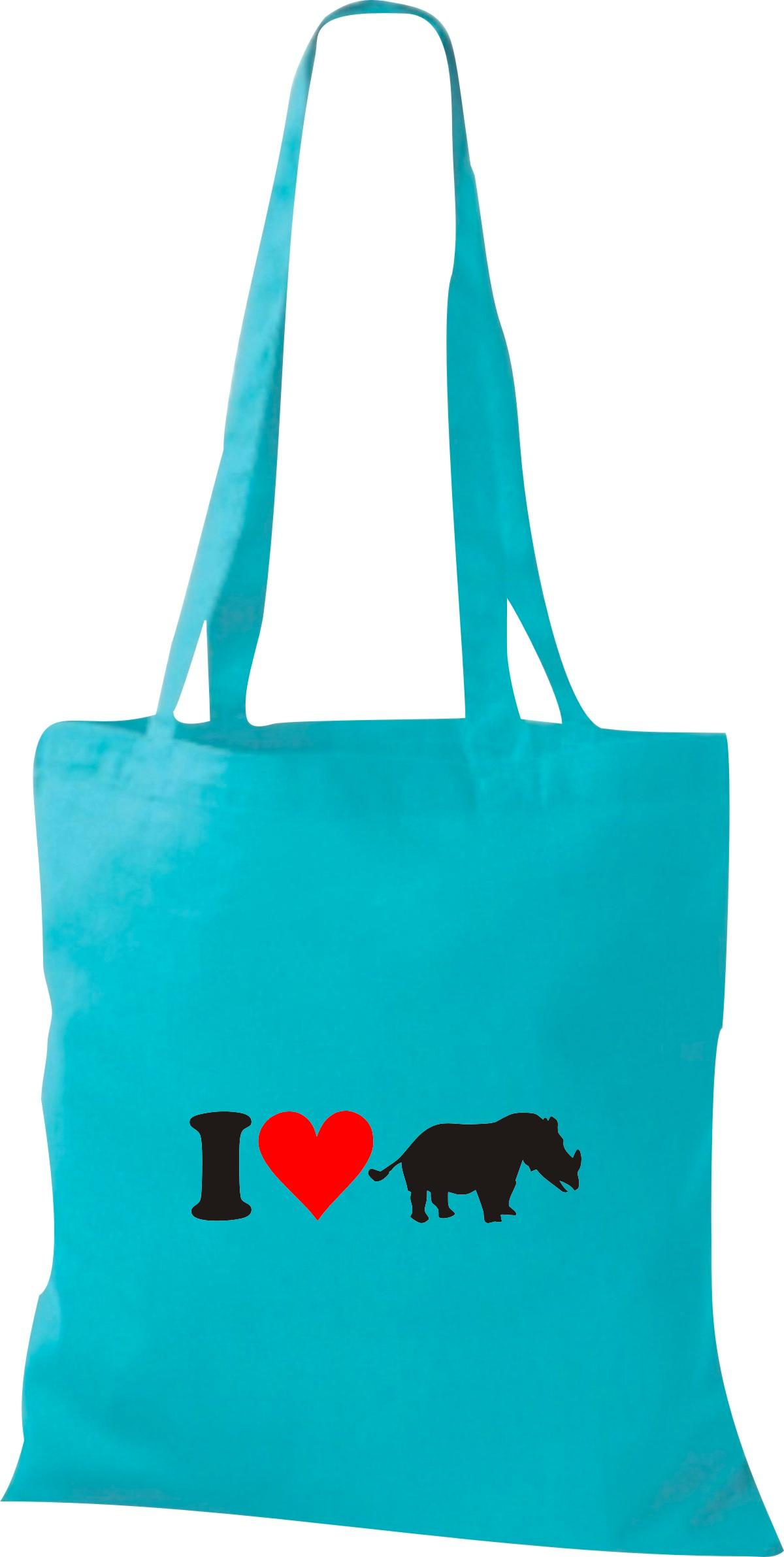 Stoffbeutel I Love Nashorn Tiere Tiermotive Naturkult, Baumwolltasche viele Farb