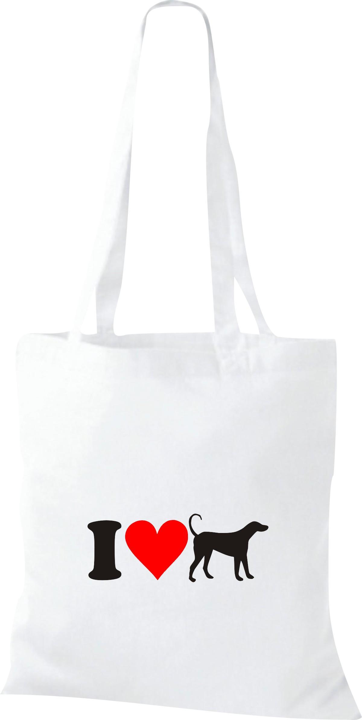 Stoffbeutel I Love Hund Wolf Tiere Tiermotive Naturkult, Baumwolltasche viele Fa