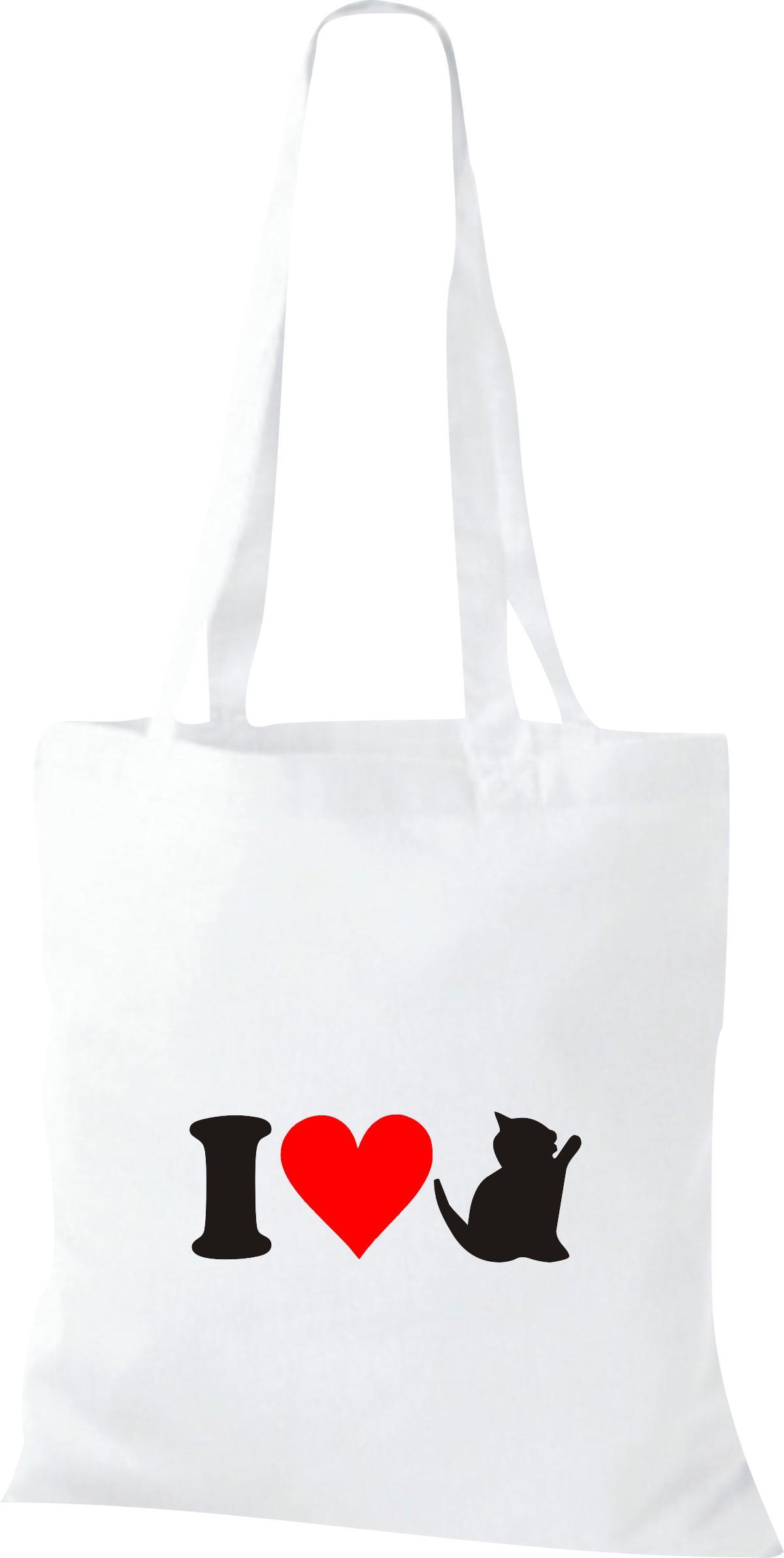Stoffbeutel I Love Katze Tiere Tiermotive Naturkult, Baumwolltasche viele Farben